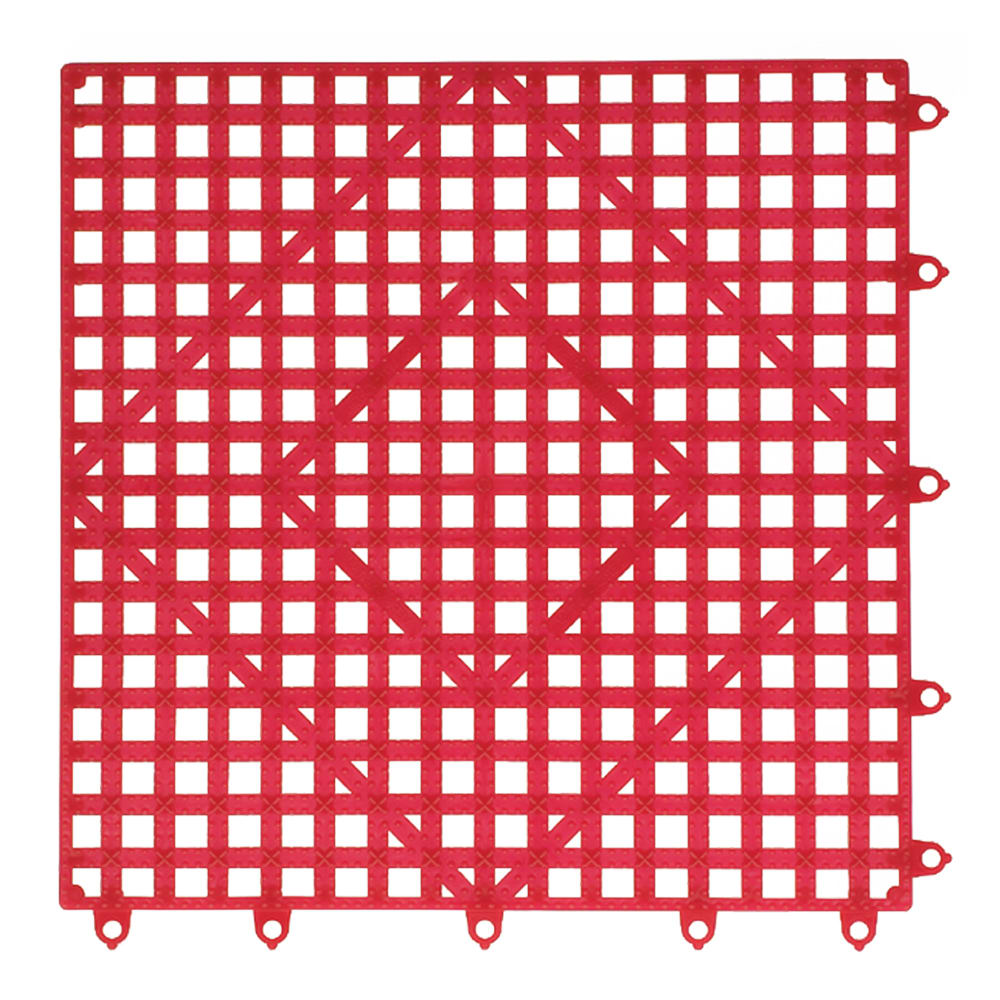 "San Jamar VM5280RD-12 Interlocking Bar Mat Tile Shelf Liner, Rubber, Grease Resistant, 12"" Sq, Red"