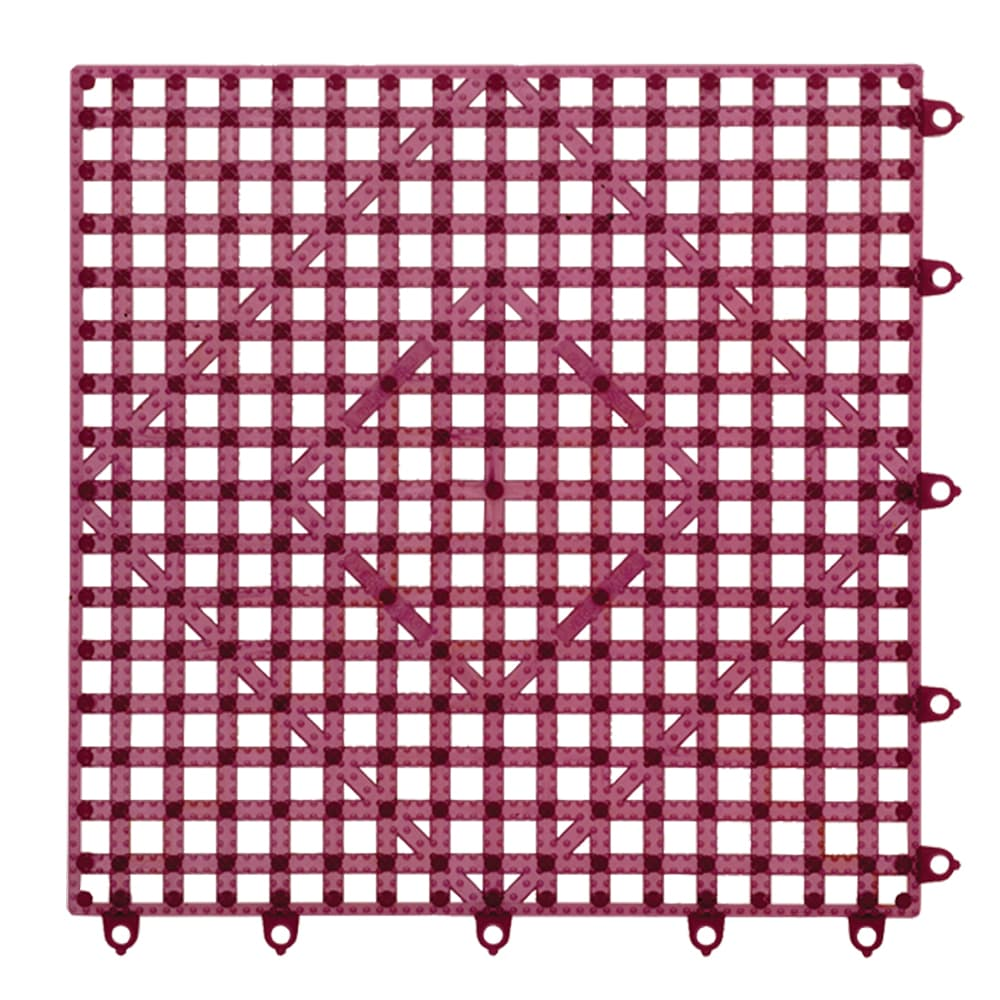 "San Jamar VM5280WN-12 Bar Mat Tile Shelf Liner - 12x12"", Grease Resistant, Interlocking, Rubber, Wine"