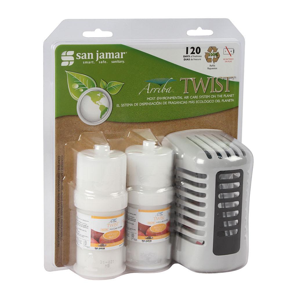 San Jamar WP1202MB Arriba Twist Retail Case Pack w/ Passive Dispenser & 2-Fragrances, Mango Burst