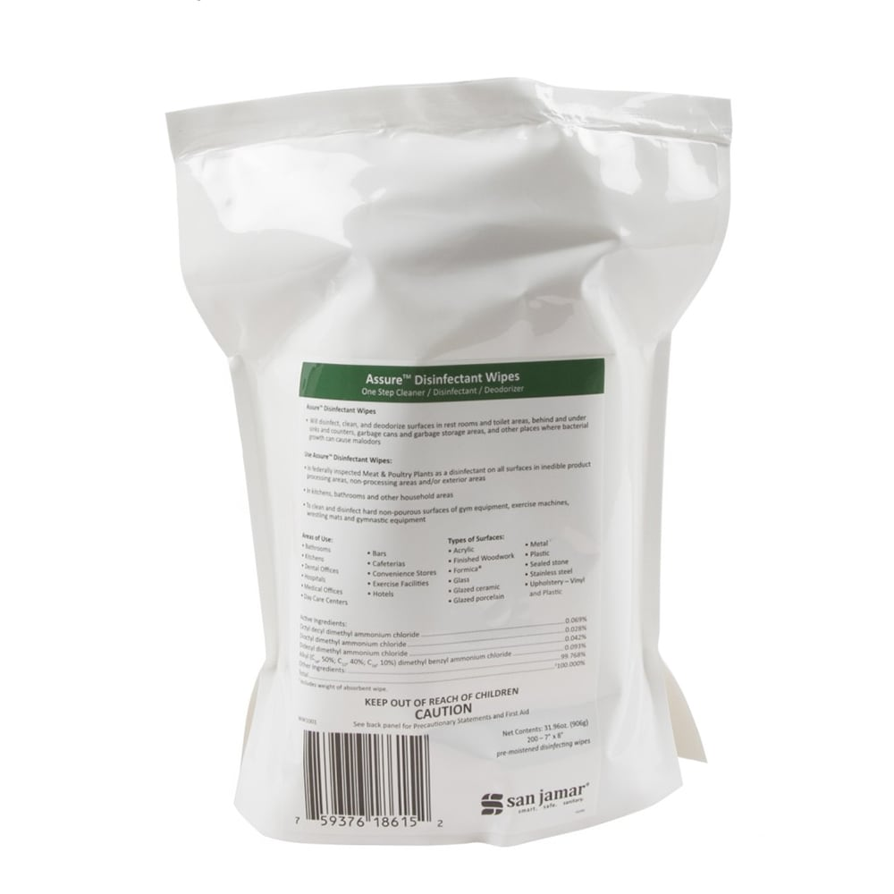 San Jamar WW1001 Wet Wipes for Surface Disinfecting - Use with WD1005
