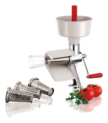 "World Cuisine 42576-00 Manual Tomato Juicer, 19-5/8"", Stainless Steel Body"