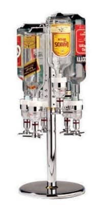 """World Cuisine 44057-04 Revolving Bottle Rack, 10 x 27.5"""", Holds 4 Bottles, Aluminum"""