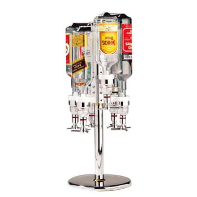 """World Cuisine 44057-06 Revolving Bottle Rack, 10 x 27.5"""", Holds 6 Bottles, Aluminum"""