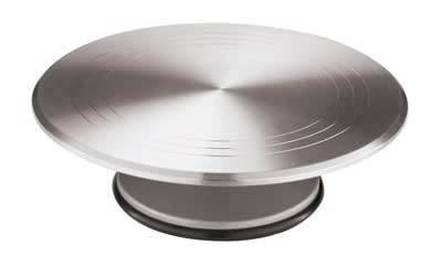 "World Cuisine 47101-30 Revolving Cake Display, 11-7/8 x 4"", Round, Aluminum"