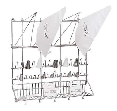 """World Cuisine 47113-03 Wall Mount Pastry Bag & Tip Dryer, 19-5/8 x 19-5/8"""", Stainless"""