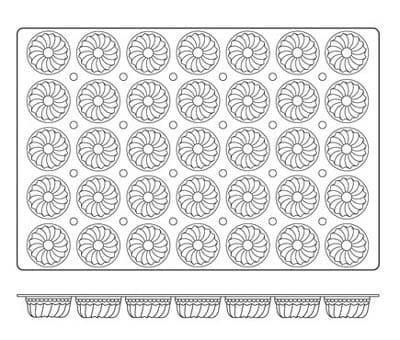World Cuisine 47678-11 Bundt Mold, 2-7/8 x 1-3/8-in, Non Stick Silicone