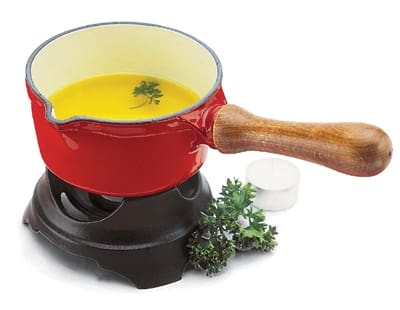 World Cuisine A1711014 Butter Warmer, .5-qt, Blue Enameled Cast Iron w/ Wood Handle