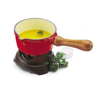 World Cuisine A1713014 Butter Warmer, .5 qt, Red Enameled Cast Iron Pan w/ Wood Handle