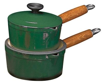 World Cuisine A1734116 Enameled Cast Iron Casserole Pot w/ Wood Handle, 1 qt, Blue