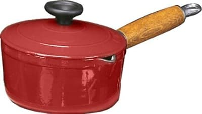 World Cuisine A1734318 Enameled Cast Iron Casserole Pot w/ Wood Handle, 2 qt, Red