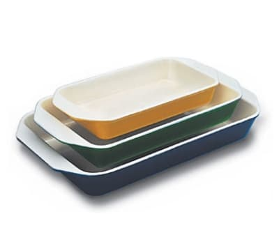 World Cuisine A1735134 Enameled Cast Iron Baking Dish, 3-qt, Rectangular, Blue