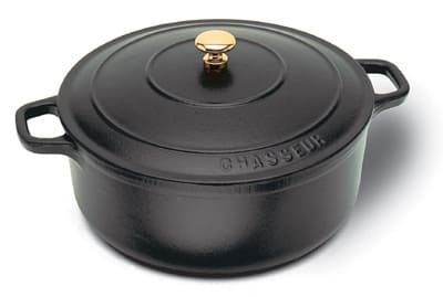 World Cuisine A1737016 1.75 qt Dutch Oven, Enameled Cast Iron w/ Lid & Bronze Knob, Black