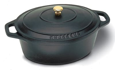 World Cuisine A1737027 3.5 qt Dutch Oven w/ Lid & Bronze Knob, Enameled Cast Iron, Black