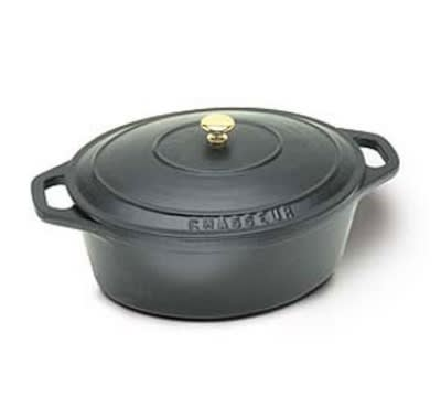 World Cuisine A1737029 4.25 qt Dutch Oven w/ Lid & Bronze Knob, Enameled Cast Iron, Black