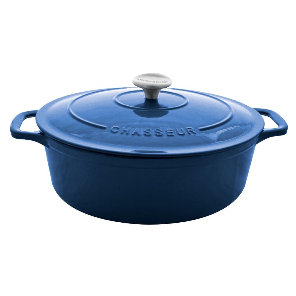 World Cuisine A1737133 Dutch Oven w/ Lid, Enameled Cast Iron, 6.75 qt, Blue