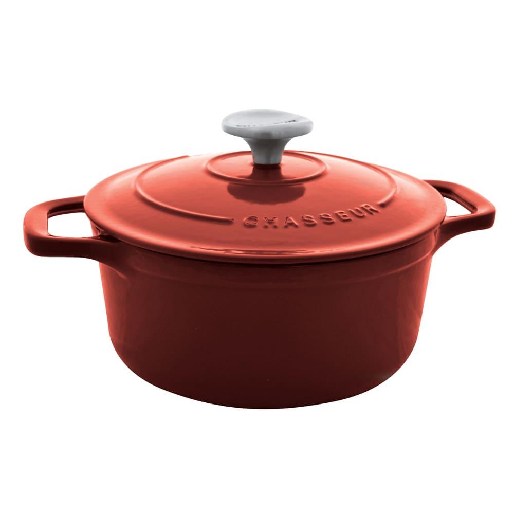 World Cuisine A1737318 Enameled Cast Iron Dutch Oven w/ Lid, 2-qt, Red