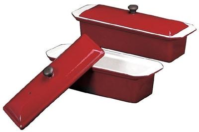 World Cuisine A1738225 Enameled Cast Iron Terrine Mold w/ Lid, Rectangular, 1.25 qt, Red