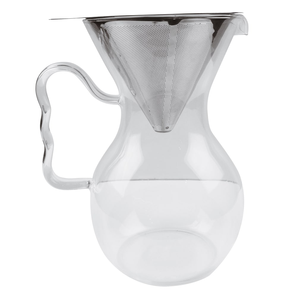 World Cuisine A4164910 33.8 oz Coffee Pour Over w/ Handled Glass Pitcher, Stainless Filter