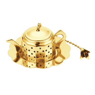 "World Cuisine A4982413 1"" Round Teapot-Shaped Tea Infuser, Goldplated"