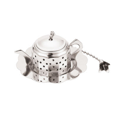 """World Cuisine A4982415 1"""" Round Teapot-Shaped Tea Infuser, Silverplated"""