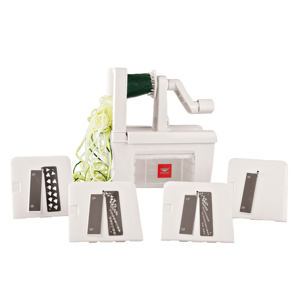 World Cuisine A4982800 Tabletop Spiral Vegetable Slicer w/ (4) Stainless Steel Blades, Plastic