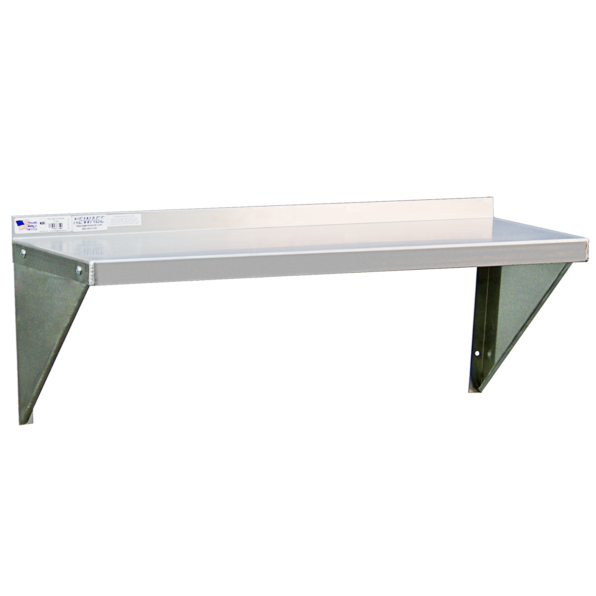 "New Age 1125 Solid Wall Mounted Shelf, 36""W x 12""D, Aluminum"