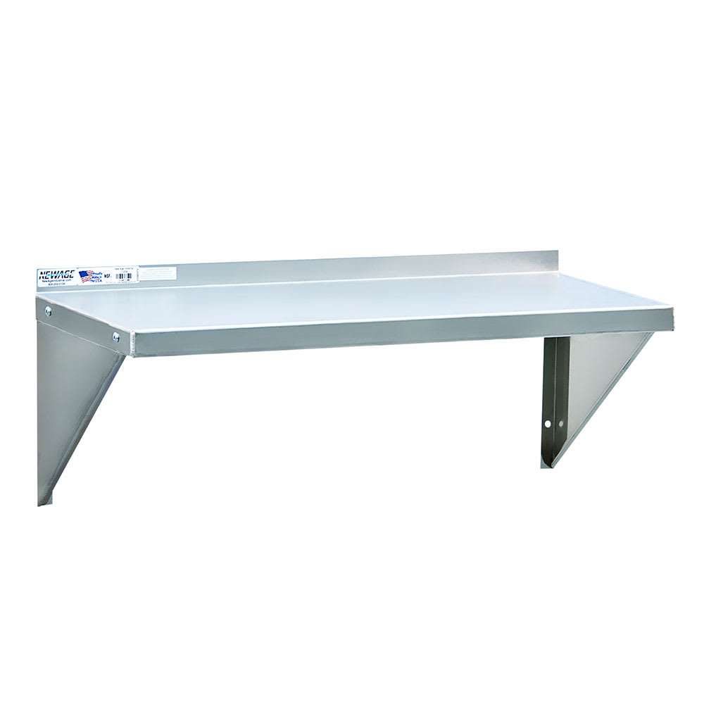 "New Age 1126 Solid Wall Mounted Shelf, 48""W x 12""D, Aluminum"
