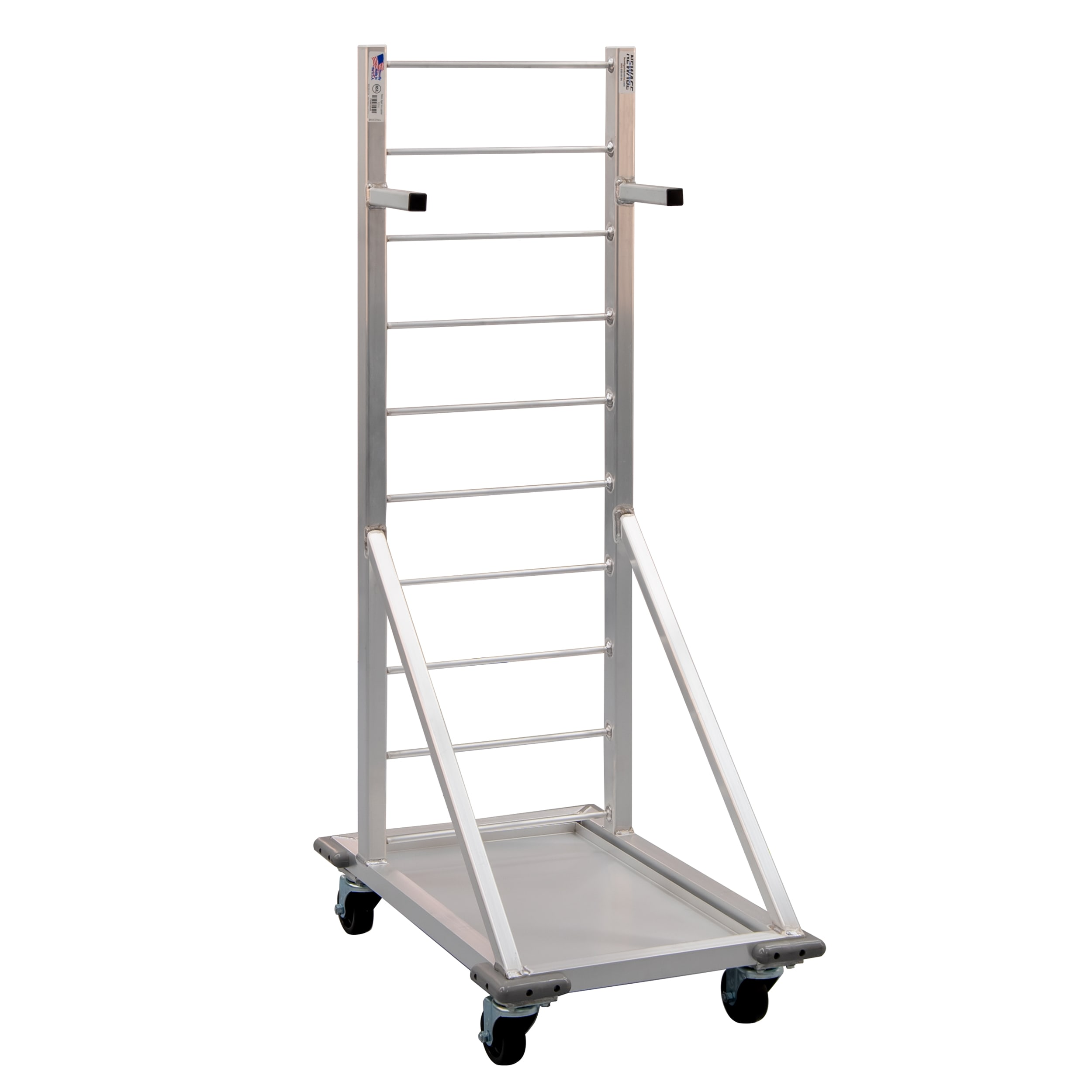 "New Age 1210 Fry Basket Rack w/ 18-Basket Capacity & 3"" Casters, 52.5x18x27"", Aluminum"