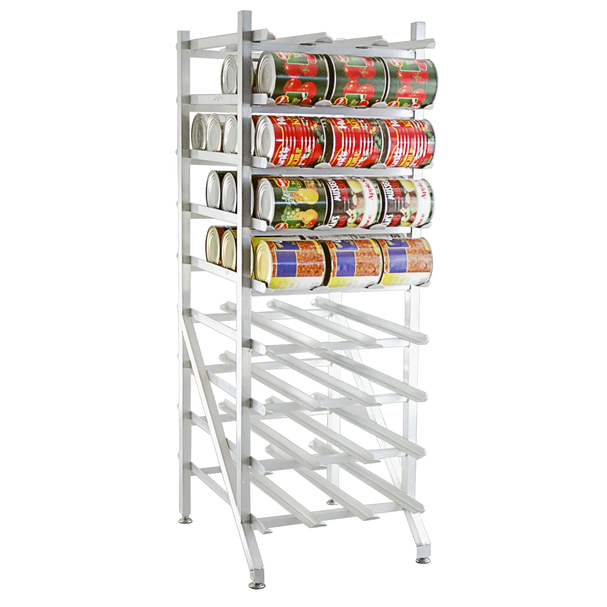"New Age 1250 71""H Stationary Can Rack w/ (162) #10 or (216) #5 Capacity, Adjustable Feet"