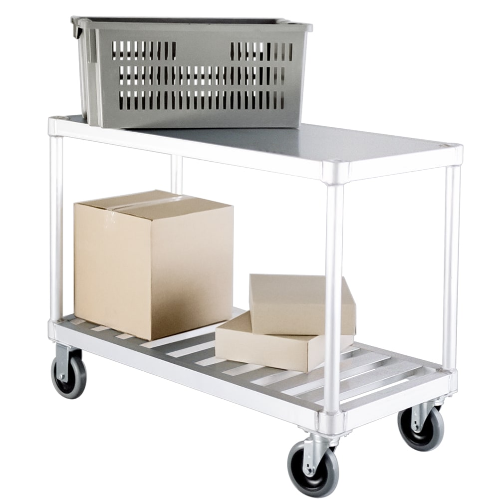 New Age 1415 2 Level Aluminum Utility Cart w/ 800 lb Capacity, Flat Ledges