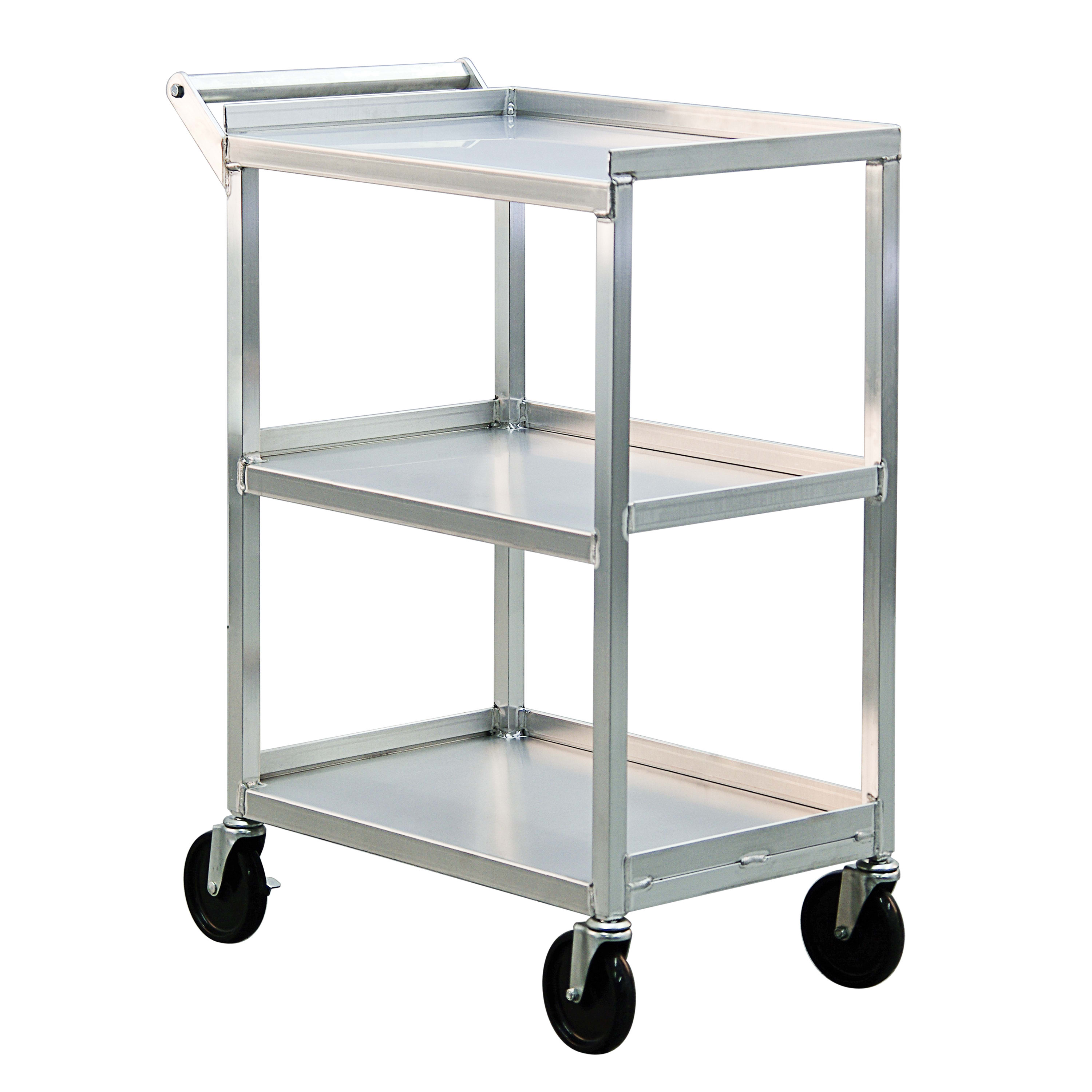 "New Age 1440 16.5x27.75"" Open Bussing Cart w/ 3-Solid Shelves & 350-lb Capacity, Aluminum"