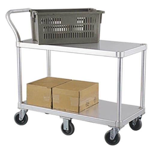 New Age 1490 2 Level Aluminum Utility Cart w/ 800 lb Capacity, Flat Ledges