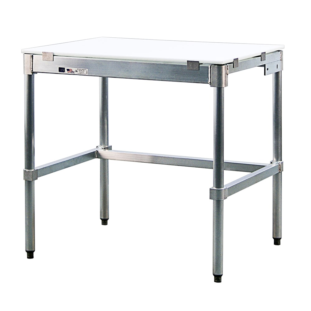 "New Age 24P96KD 96"" Poly Top Work Table w/  5/8"" Top, Aluminum Base, 24""D"