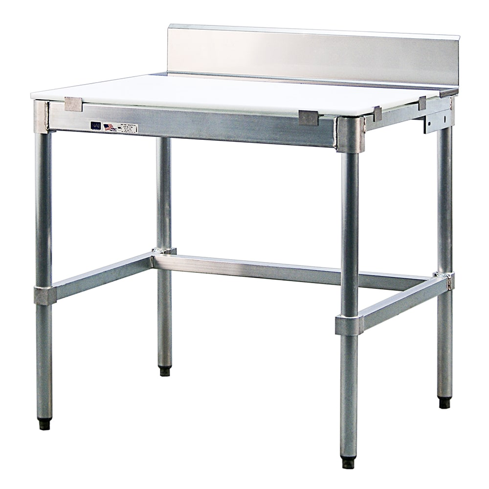 "New Age 24PBS48KD 48"" Poly Top Work Table w/  6"" Backsplash & 5/8"" Top, Aluminum Base, 24""D"