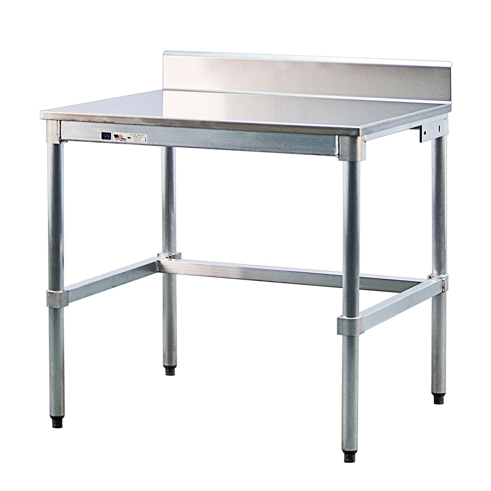 "New Age 24SSB36KD 36"" 16 ga Work Table w/ Open Base & 304 Series Stainless Top, 6"" Backsplash"