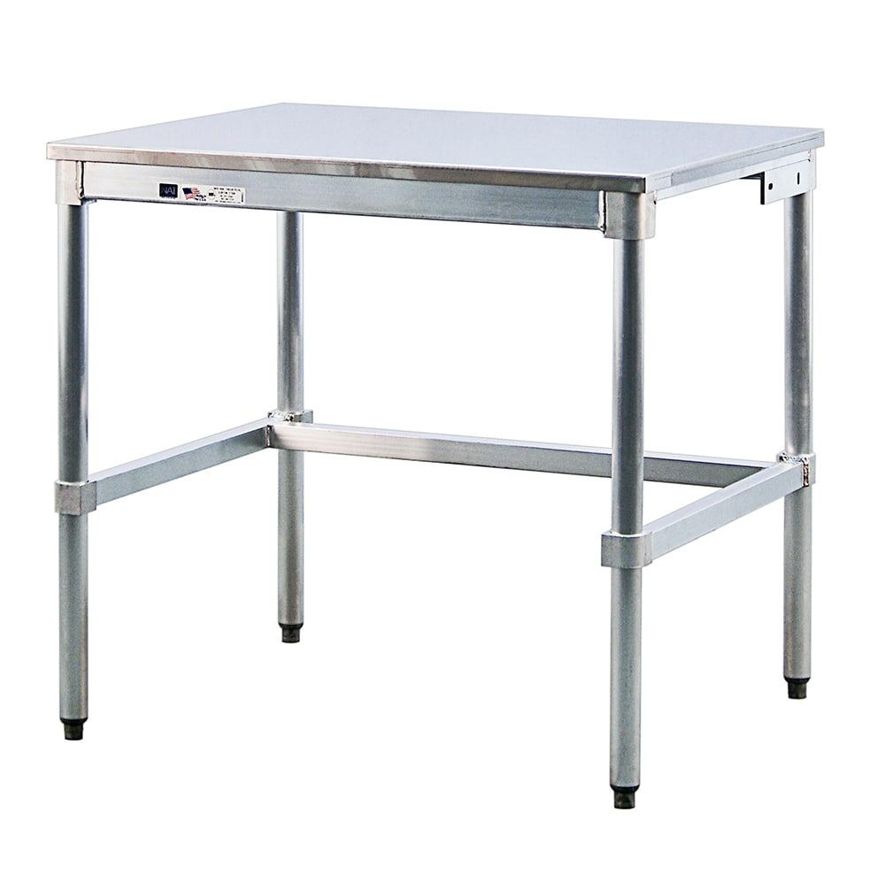 """New Age 30SS48KD 48"""" 16-ga Work Table w/ Open Base & 304-Series Stainless Flat Top"""