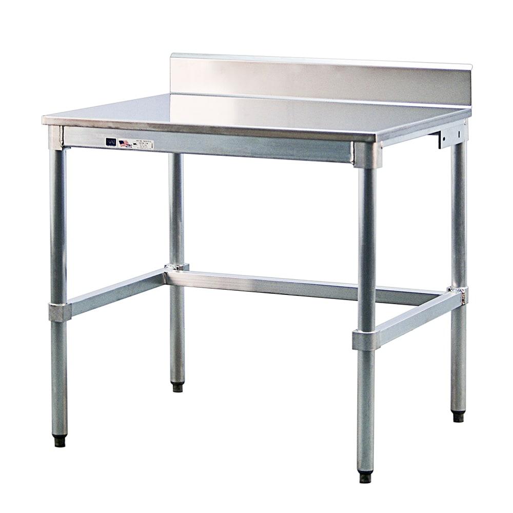 "New Age 30SSB72KD 72"" 16-ga Work Table w/ Open Base & 304-Series Stainless Top, 6"" Backsplash"
