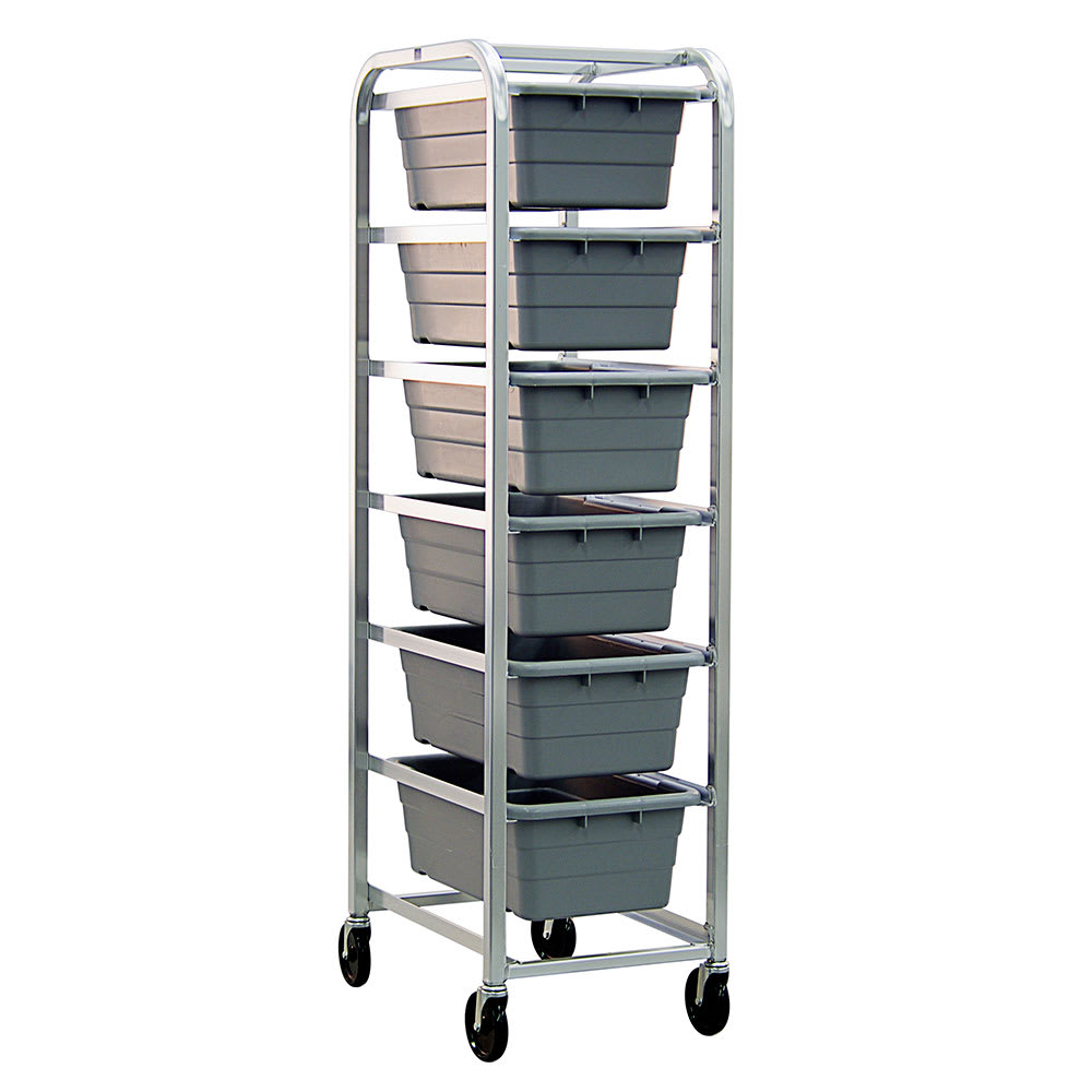 "New Age 6263 Mobile Lug Rack w/ (6)16x25x8.5"" Lug Capacity & Open Frame Design, Aluminum"