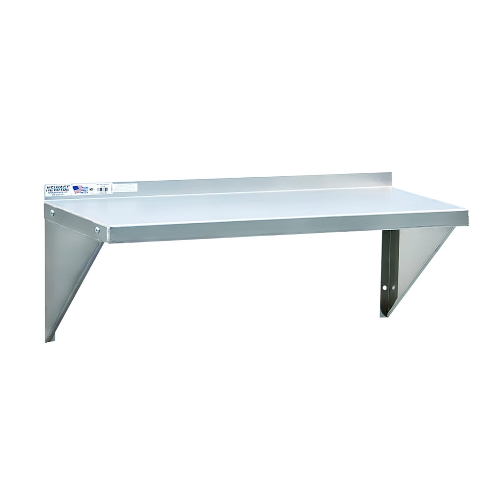 "New Age 92093 Solid Wall Mounted Shelf, 36""W x 18""D, Aluminum"