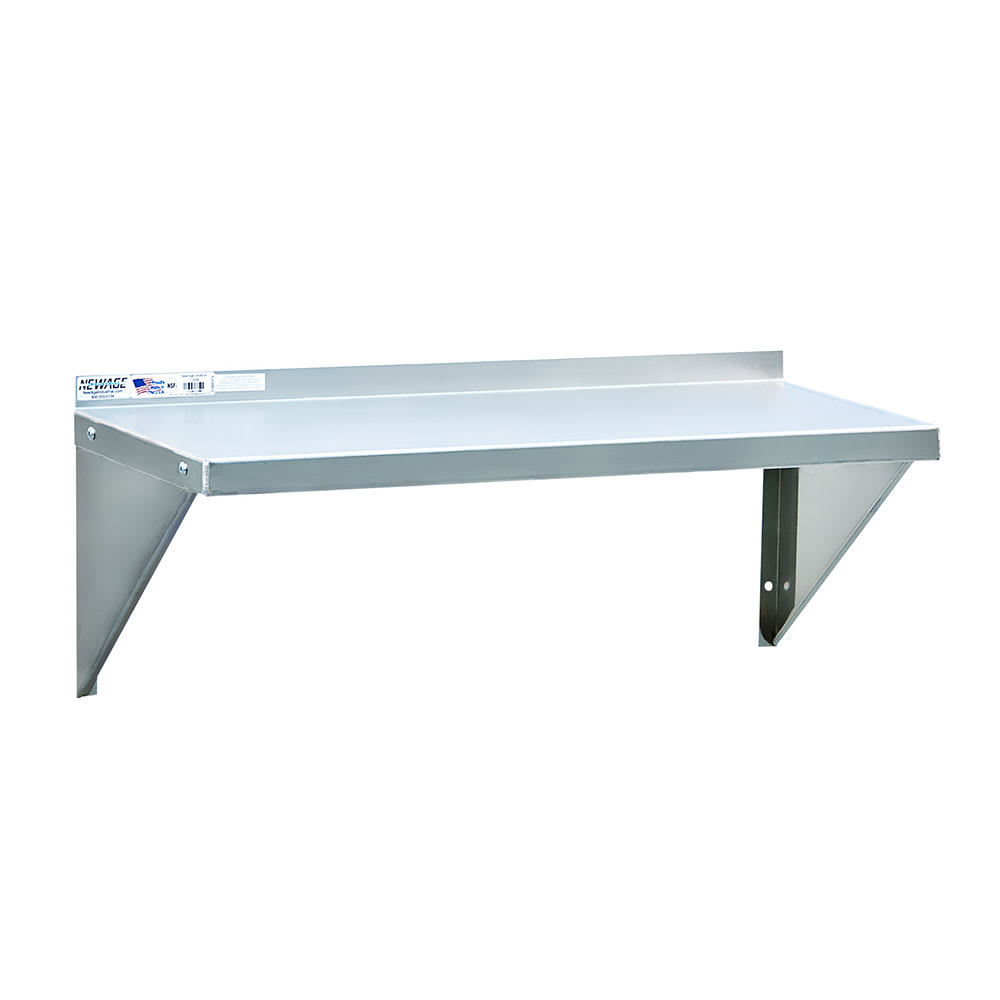 """New Age 95634 Solid Wall Mounted Shelf, 24""""W x 18""""D, Aluminum"""