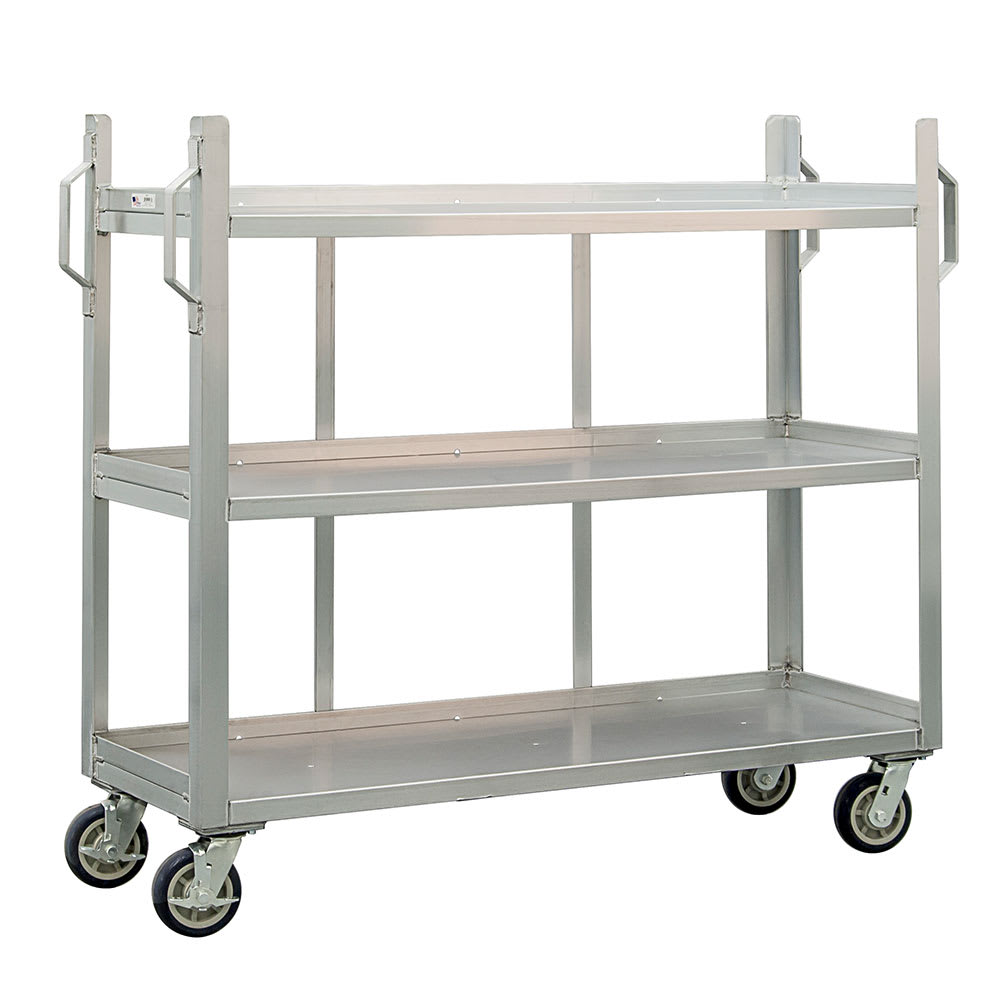 New Age 95667 3-Level Aluminum Utility Cart w/ 1800-lb Capacity, Raised Ledges