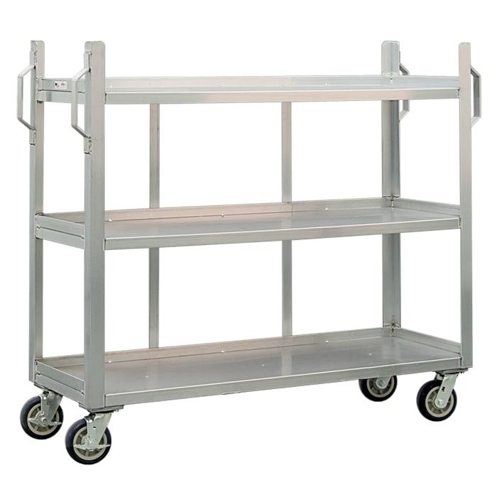 New Age 95667 3 Level Aluminum Utility Cart w/ 1800 lb Capacity, Raised Ledges