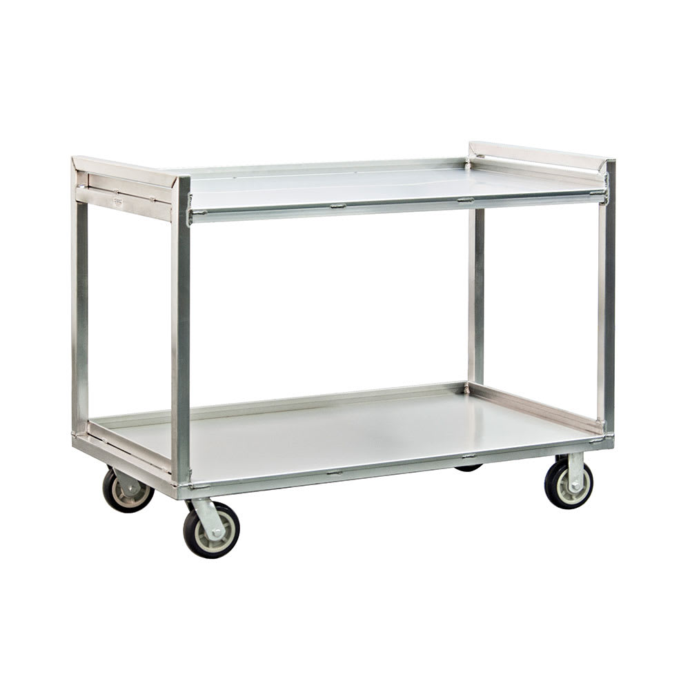 New Age 97177 2 Level Aluminum Utility Cart w/ 1500 lb Capacity, Raised Ledges