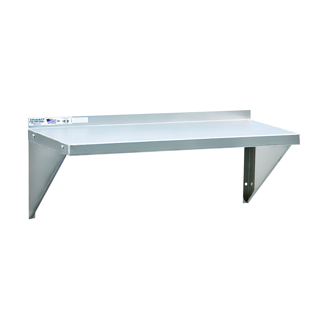 "New Age NS793 Solid Wall Mounted Shelf, 48""W x 15""D, Aluminum"