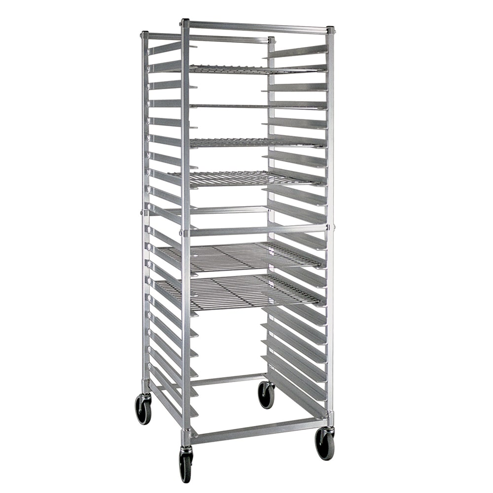 New Age NS947KD Mobile Full Height Donut Screen Rack w/ Open Sides & (20)24x24-Pan Capacity