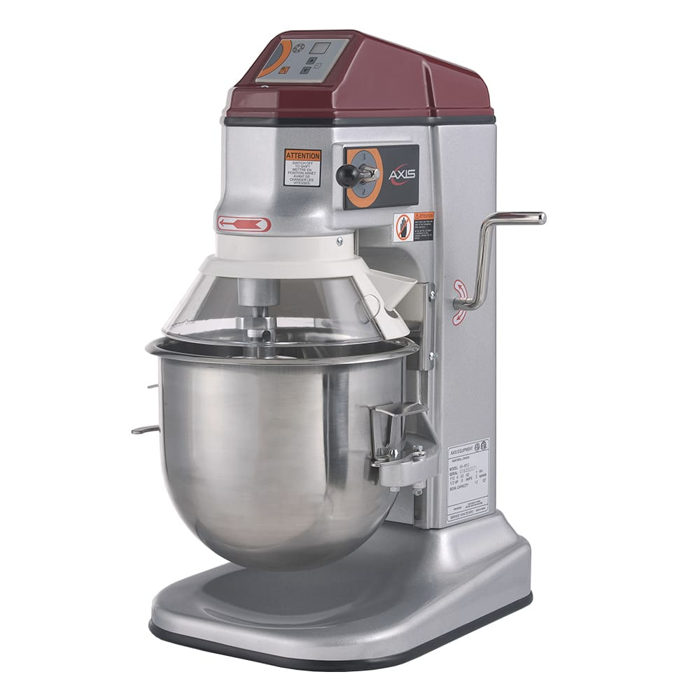 Axis AXM12 Commercial Planetary Mixer, 12 qt, Gear Driven, 3 Speed, Digital Timer