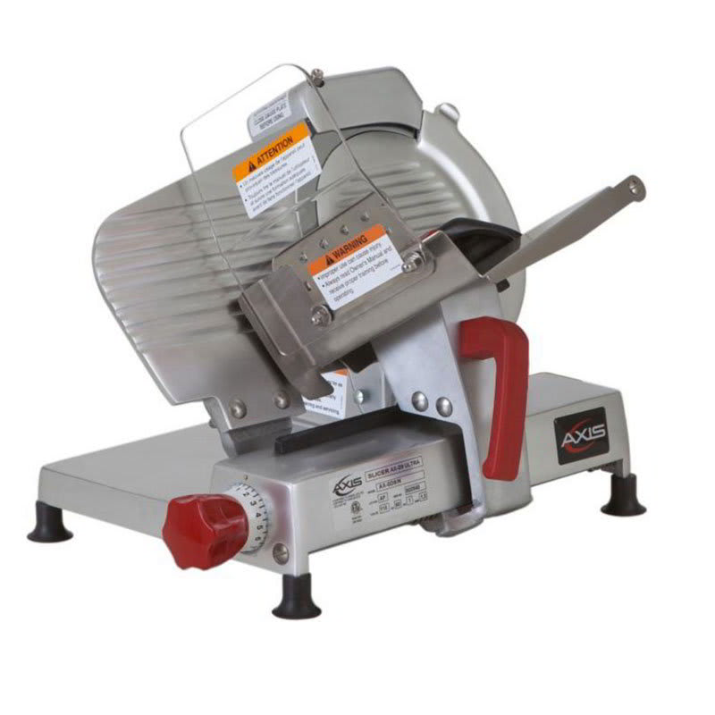 "Axis AX-S9ULTRA 9"" Light Duty Meat Slicer - Belt Driven, Built-In Sharpener, Aluminum, .25 hp, 120v"