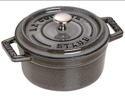 Staub 1101018 Mini Round La Cocotte w/ .25-qt Capacity, Enamel Coated Cast Iron, Graphite Grey
