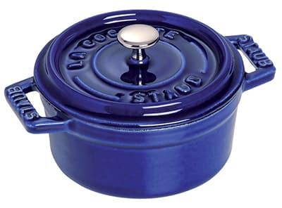Staub 1101091 Mini Round La Cocotte w/ .25-qt Capacity & Enamel Coated Cast Iron, Dark Blue
