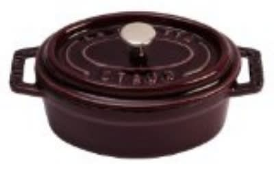 Staub 110 11 07 Enameled Cast Iron Mini La Cocotte, Oval, 1/4 qt, Eggplant